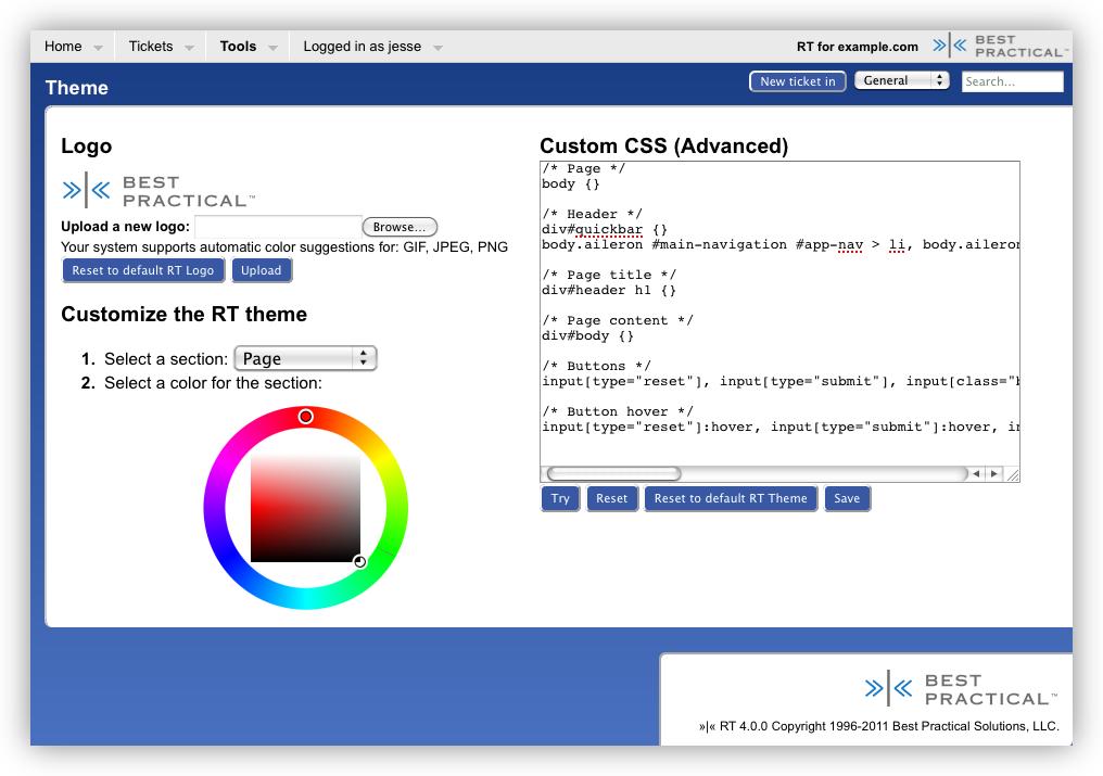 Customizing/Styling rt - RT 4.4.2 Documentation - Best Practical